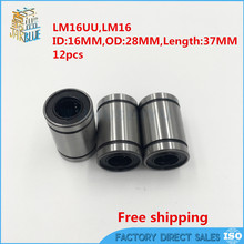 Free Shipping 12 pcs LM16UU 16mm linear bearings for 16mm shaft LM16(China)