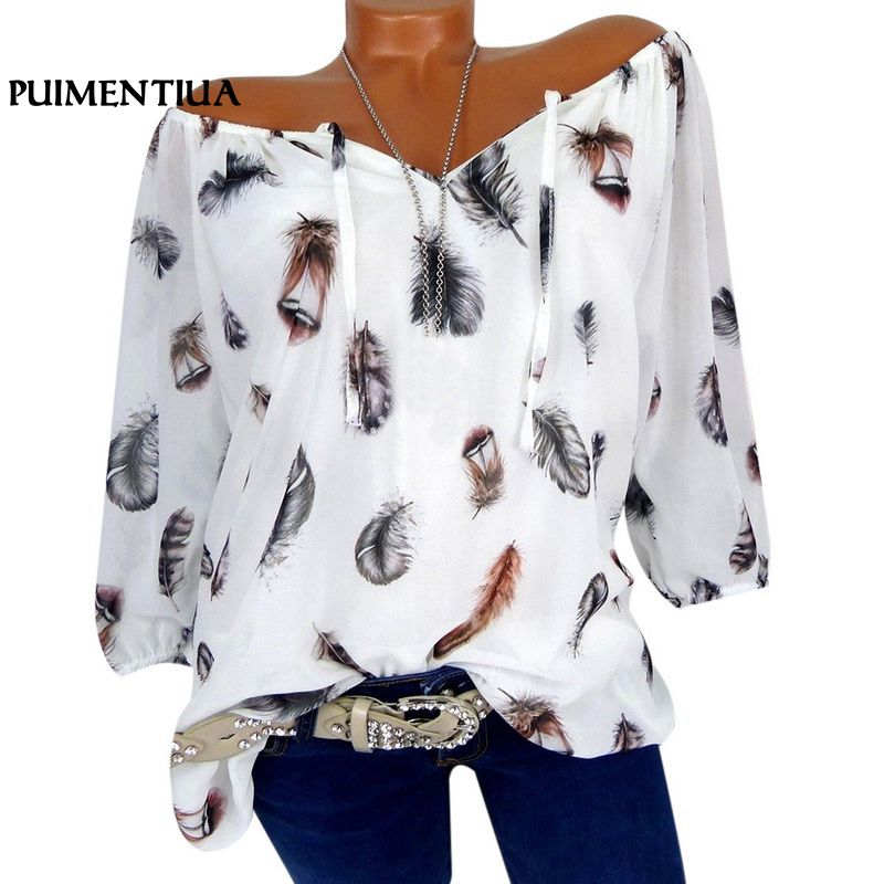 Puimentiua Women Tops Half Sleeve Lace Up V-Neck Feather Print Off Shoulder Blouse Ladies Casual Loose Shirts S-5XL 2019 Tee(China)