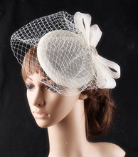 16 Colors elegant fascinator hats sinamay base loops with veils adorned apparel accessories cocktail hats bridal headpiece