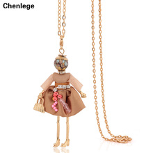 gold-color doll pendants necklaces free shipping 2017 retro long chain statement big necklace USA & French choker  jewelry