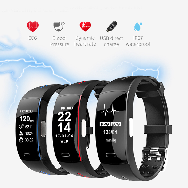 ECG Smart watch Men Blood pressure Heart rate monitor Activity tracker Fitness bracelet Clock waterproof Women Smart wristband<br>