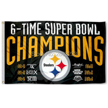 Pittsburgh Steelers 6 Time Super Bowl Champions Outdoor Indoor American Football Flag 3X5FT Drop Shipping Custom Club Sport Flag