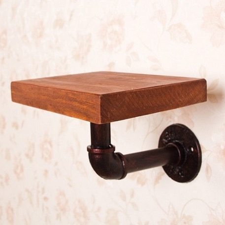 1PCS  American Style Retro Old Iron Industrial Pipe Shelf Wall Rack Bookshelf (Included wood)<br>