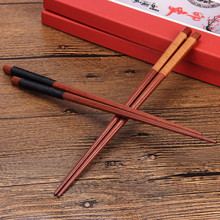 Japanese-Style Natural Handmade Kamoku Wood Adults Chopsticks Black&Brown line wrappe chopsticks Gift for Friends &FY27