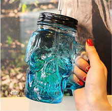 Free Shipping 500ml Colored Skulls with the Glass Beer Mug Large Beer on Draft a Mason Jar Novelty Heavy Base Glass Skull Face