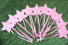 2016 children kid party decoration double size pink star with ribbon angel princess  dress up party favors Angel magic wand
