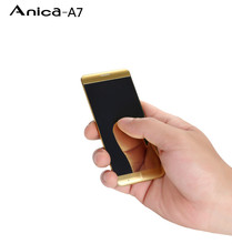 Original Anica A7 Mini Mobile Phone Ultrathin Luxury Phone Mp3 Player Bluetooth 1.63inch Credit Card Cell Phone(China)