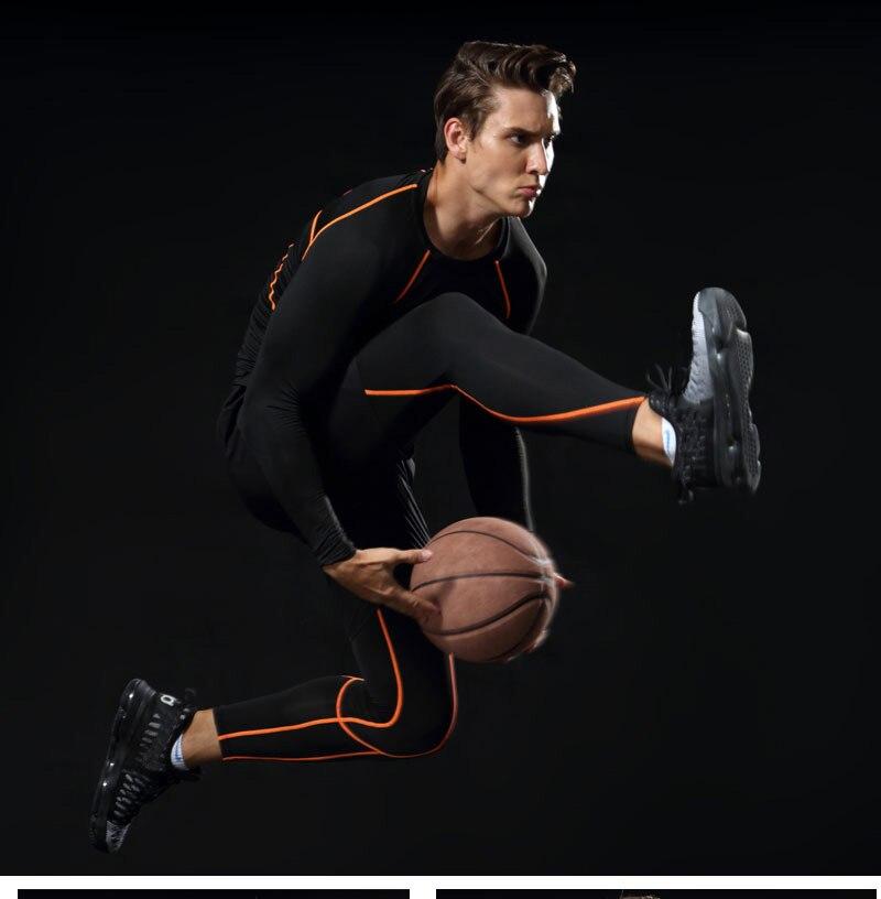 ... hombres conjuntos de deporte apretado gimnasio ropa de gimnasia ropa  deportiva chico gimnasio entrenamiento de baloncesto trajes de compresión  chándales 0aac34decadef