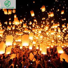 10pcs White Paper Chinese Lanterns Fire Sky Flying Paper Candle Wish Lamp for Birthday Wish Party Wedding Decoration(China)