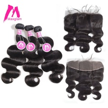 Maxglam Brazilian Virgin Hair 3 Body Wave Bundles with Fronral Unprocessed Human Hair Bundles with Frontal Closure Free Shipping(China)