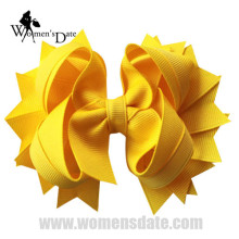 "WomensDate hot sale 4.5"" Solid Stacked Girl's Spike Hair Bows Hairbows Without Clips Headband Yellow Headwear 12pcs"