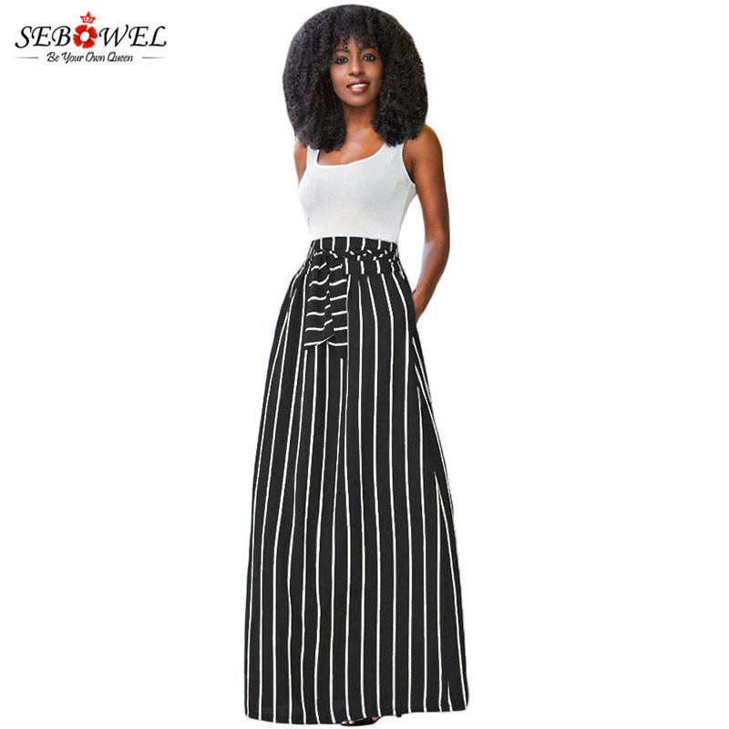 Black-Striped-Maxi-Skirt-LC65037-2-1