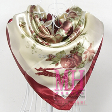 Men women fashion scarf Autumn and winter large silk scarf green blue red summer sunscreen pashmina cape 90*90cm