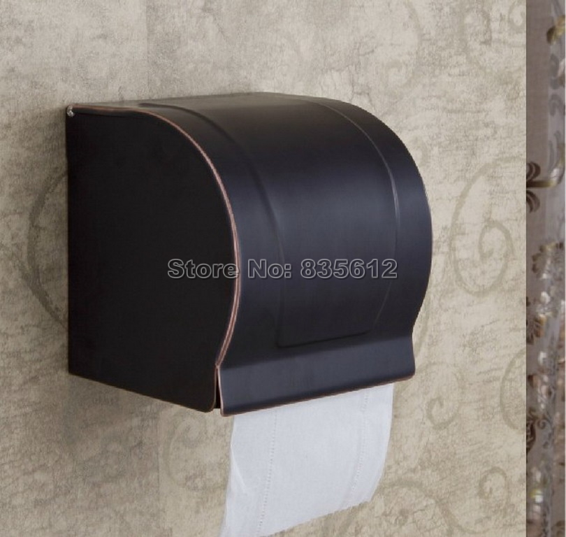 Modern Black Oil Rubbed Bronze Bathroom Toilet Roll Holders Box Wall Mounted Wba302<br>