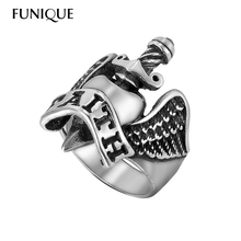 FUNIQUE Punk Style Angel Wing Sword FAITH Ring Men's 316L Stainless Steel Gothic Rings Antique Silver Retro Male Biker Ring