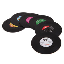 6pcs/lot Novelty CD Record Tableware Mat Food Grade Retro Vinyl Plastic Coaster Cup Cushion Drinks Holder Dining Home Decor(China)