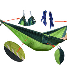 shihao Portable Nylon Parachute Double Hammock Garden Outdoor Camping Travel Furniture Survival Hammock Swing Sleeping Bed Tools