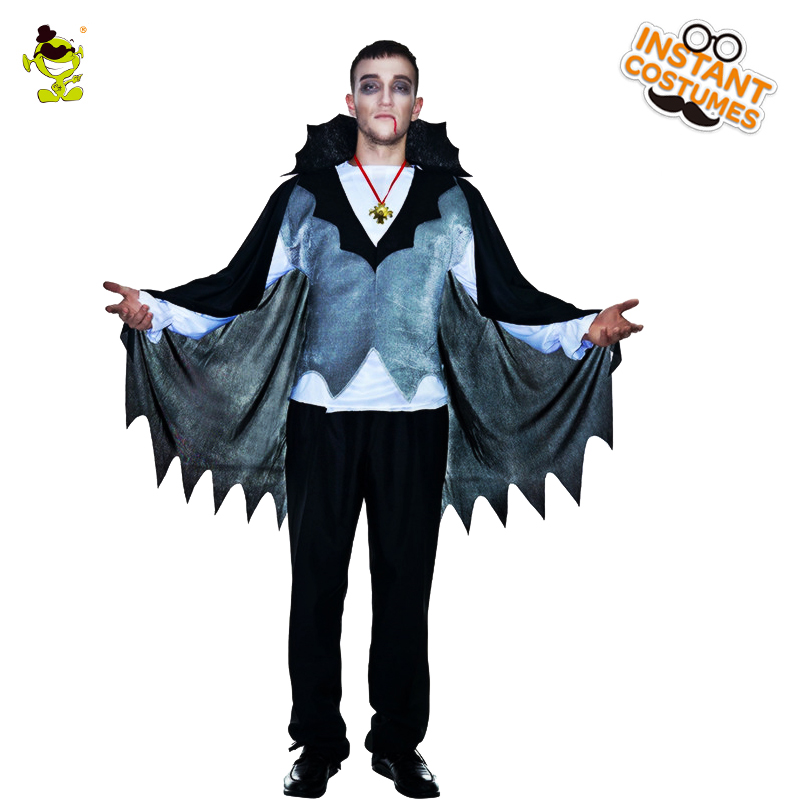Men's Gothic Vampires Costume With Hooded Robe Cape  Scary bloodsucker Halloween Costumes Purim Party For Vampire Role Play