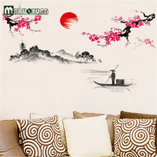 Hot Sun Plum Flower Decoration On The Wall The Sitting Room The Bedroom Wall Stick Tv Setting Wall Stickers(China)