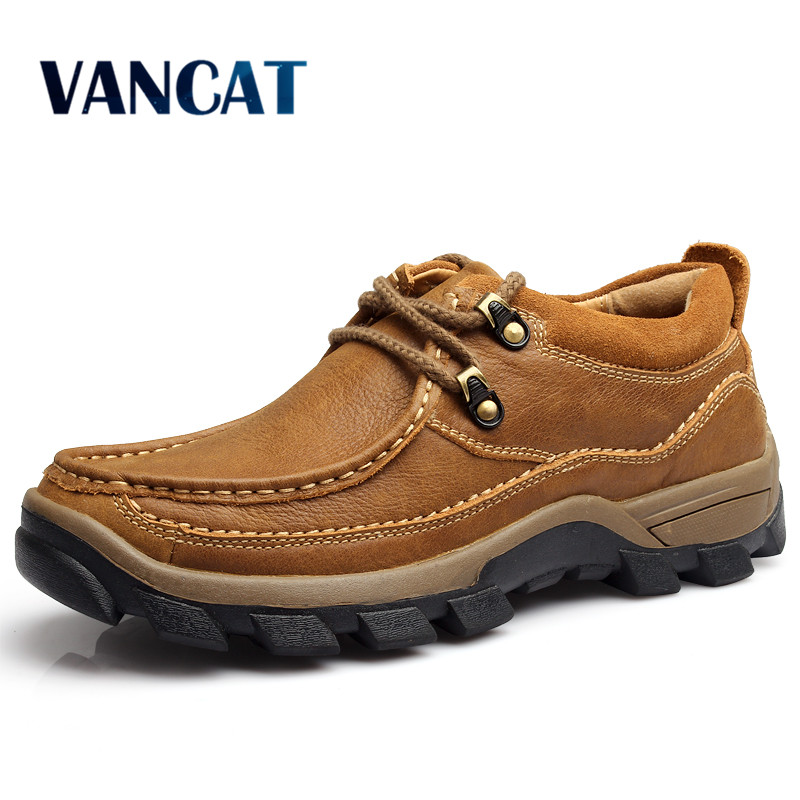 Genuine Leather Mens Shoes 2017 Autumn Winter Casual Waterproof Work Shoes Outdoor Rubber Shoes Lace-up Oxfords chaussure homme<br>