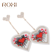 ROXI Fashion Women Earrings Embroidery Red Heart Fabric Heart EarrinROXI Crystal Jewelry for Lady Orecchini Donna 2017(China)