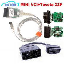 Best Sale MINI VCI V12.00.127 For Toyota/Lexus/Scion TIS Techstream OBD2 USB Cable With OBD Fits Toyota 22PIN to 16PIn(China)