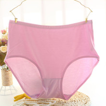 2Pcs/lot Candy colors 2017 New Arrival  Plus Size 7XL  high waist thin soft briefs underwears women's panties