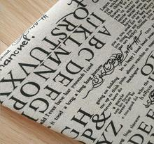 150cm X 50 cm wholesale cotton linen English newspaper printed fabric for luggage and decorative cloth(China)