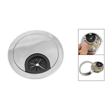 Best Selling Round Plastic Desk Wire Clip-In Hole Cover Silver Tone