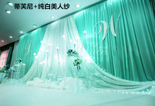 New Design 10X20ft Tiffany Blue Wedding Backdrop Curtain with White Sheer Tulle Swag Props New Stage Background Curtain