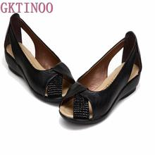 Plus size(35-43)New 2017 summer shoes women genuine leather casual wedges shoes sandals women's pumps women sandals for women(China)