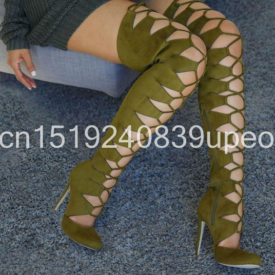 Fashion Nude Lady Over The Knee Summer Boots Cut-outs Long Sexy Boots Design Party Thigh High Boots Botas<br><br>Aliexpress