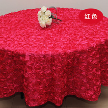 Red Wedding 2.6 m Table Cloth Round Overlays 3D Rose Round Tablecloths Wedding Decoration Supplier 7 Colors Free Shipping(China)