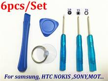 1000set /lot* 6 in1 Hand Tools Screwdriver Set Mobile Phone Repair Opening Tools Kit For Blackberry HTC Samsung SONY Nokia LG
