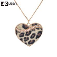 Leopard Design Sweater Chain Long Necklaces Jewelry Accessory Gift Leopard Heart Pendant Brown Leopard Necklace Heart Necklace