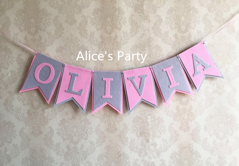 Personalised Name Decoration Banner Bunting Party Decor Girl Boy Birthday