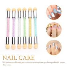 Set Glitter Powder Picking Dotting Gradient Pen Brush + 2 Sponge Nail Art Tools