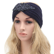 Hair Accessories For Women Knitted Headband Rhombus Rhinestone Hair Band Crochet Elastic Hair Bands Black White Navy Blue(China)