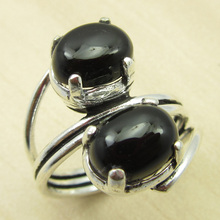 BLACK ONYX Ring Size US 7.5 ! Silver Plated Fashion Jewellery WHOLESALE PRICE India Jewelry