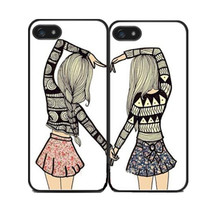 Two Girls Best Friends Cover Case for iPhone 4 4S 5 5S SE 5C 6 6S Plus SONY Z Z1 Z2 Z3 Z4 MINI M2 M4 C3 C4 C5 T2 T3