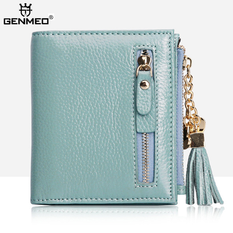 New Stylish Famous Brand Cow Leather Wallets Women Genuine Leather Wallet 4 Colors 2017 Clutch Money Purse Card Holders Handbags<br>