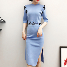 [Alphalmoda] Women's Cross Lacing Chinese Traditional Design Knit Vestidos Femme Side Splits Slim Straight Step Dress
