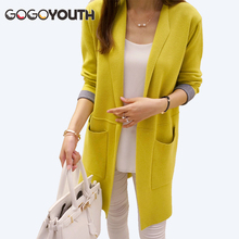 Gogoyouth Long Cardigan Female 2017 Spring Autumn Long Sleeve Knitted Women Sweater Cardigan Women Winter Tops jumper Long Coat(China)