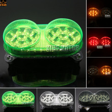 For Kawasaki Ninja ZX6R ZZR600 ZX9R ZX900 Z750 Z750S Motorcycler Accessories Integrated LED Tail Light Turn signal Blinker Green