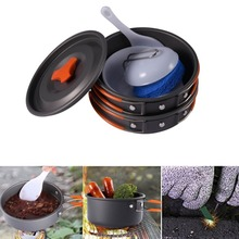 Free Shipping 1Set Outdoor Camping Hiking Cookware Backpacking Cooking Picnic Bowl Pot Pan Set Lightweight Portable Compact NEW