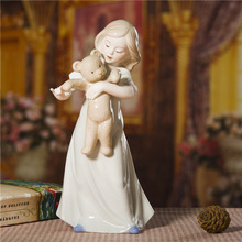 Porcelain Girl and Teddy Bear Statuette Ceramic Doll Figurine Craft Ornament Accessories for Birthday Gift and Room Decoration