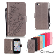 Case for Apple iPhone 5C Solid color single embossed pattern leather case fashion card slot bracket wallet clamshell phone cover