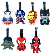 Superman Batman Iron man Hulk Deadpool 7Type Creative Silicone Luggage Tag Pendants Hang Tags Tourist Products Toy Figure 1pc