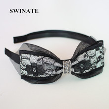SWINATE New Fashion Women Lace Double Bowknot Rhinestones Hairband Hair Accessories Quality Handmade Ribbon Bow Elegant Headband