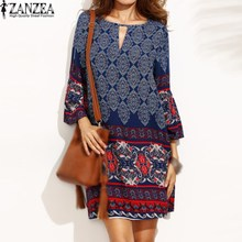 2017 ZANZEA Boho Women Floral Print O Neck Casual Loose Summer Beach Mini Dress Female Party Club Keyhole Shift Dress Plus Size